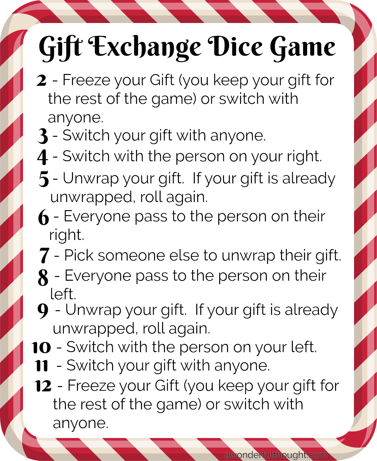 Gift Exchange Dice Game A