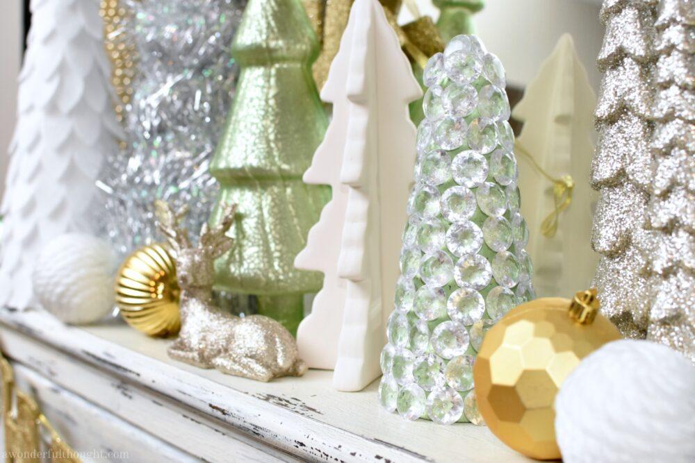 Dollar store craft sparkly gem christmas tree a